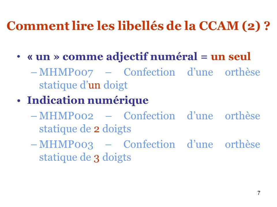 7 Comment lire les libellés de la CCAM (2) ? « un » comme adjectif numéral = un seul –MHMP007 – Confection dune orthèse statique dun doigt Indication