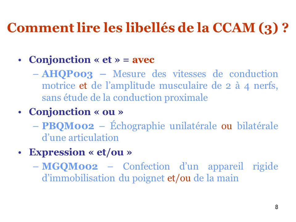 8 Comment lire les libellés de la CCAM (3) ? Conjonction « et » = avec –AHQP003 – Mesure des vitesses de conduction motrice et de lamplitude musculair