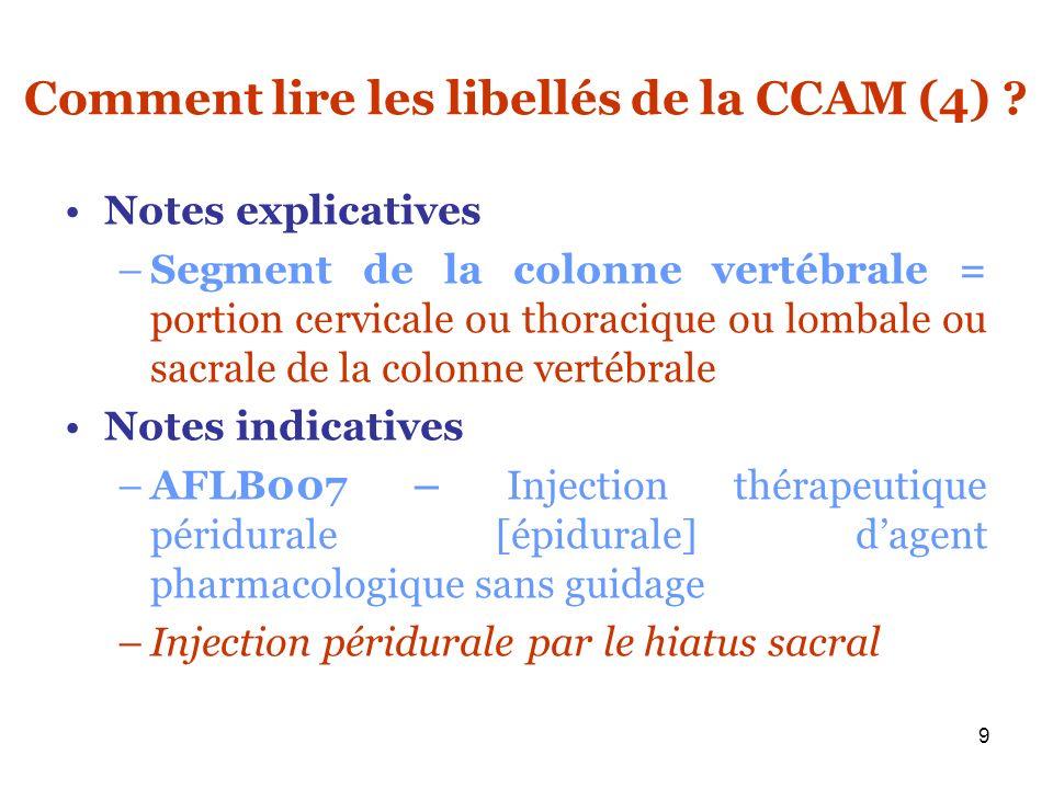 10 Comment lire les libellés de la CCAM (5) .