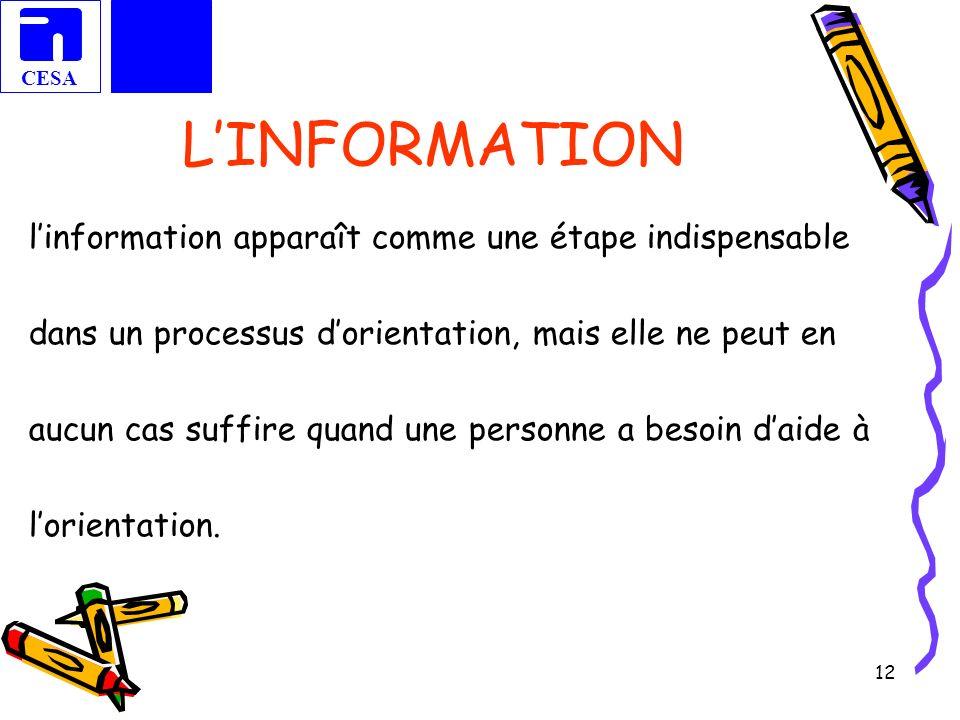 CESA 12 LINFORMATION linformation apparaît comme une étape indispensable dans un processus dorientation, mais elle ne peut en aucun cas suffire quand