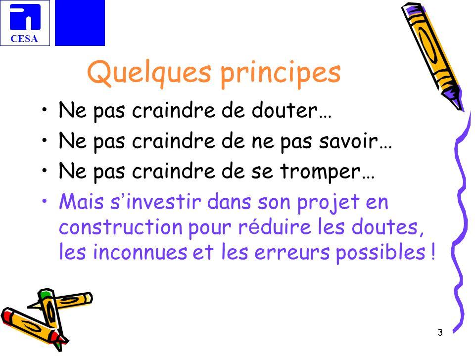 CESA 3 Quelques principes Ne pas craindre de douter… Ne pas craindre de ne pas savoir… Ne pas craindre de se tromper… Mais s investir dans son projet