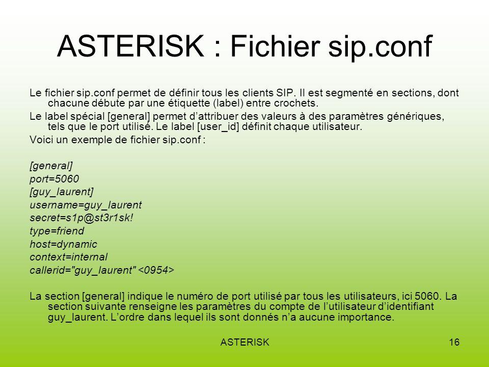 ASTERISK16 ASTERISK : Fichier sip.conf Le fichier sip.conf permet de définir tous les clients SIP.