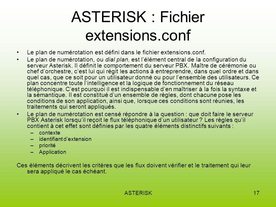 ASTERISK17 ASTERISK : Fichier extensions.conf Le plan de numérotation est défini dans le fichier extensions.conf.