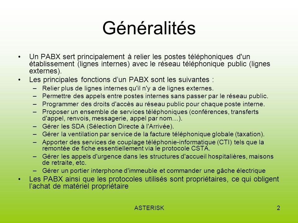 ASTERISK2 Généralités Un PABX sert principalement à relier les postes téléphoniques d un établissement (lignes internes) avec le réseau téléphonique public (lignes externes).