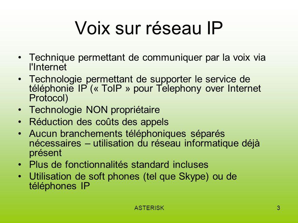 ASTERISK4 Différences entre VoIP et ToIP VoIPToIP En résumé : la VoIP est la technologie qui achemine les télécommunications entre différents abonnés tandis que la ToIP est la solution de téléphonie au sein dune même entreprise englobant la VoIP et tous les services associés à la messagerie