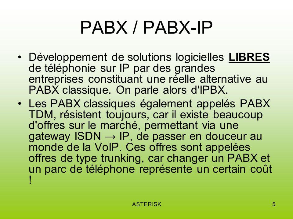ASTERISK5 PABX / PABX-IP Développement de solutions logicielles LIBRES de téléphonie sur IP par des grandes entreprises constituant une réelle alternative au PABX classique.