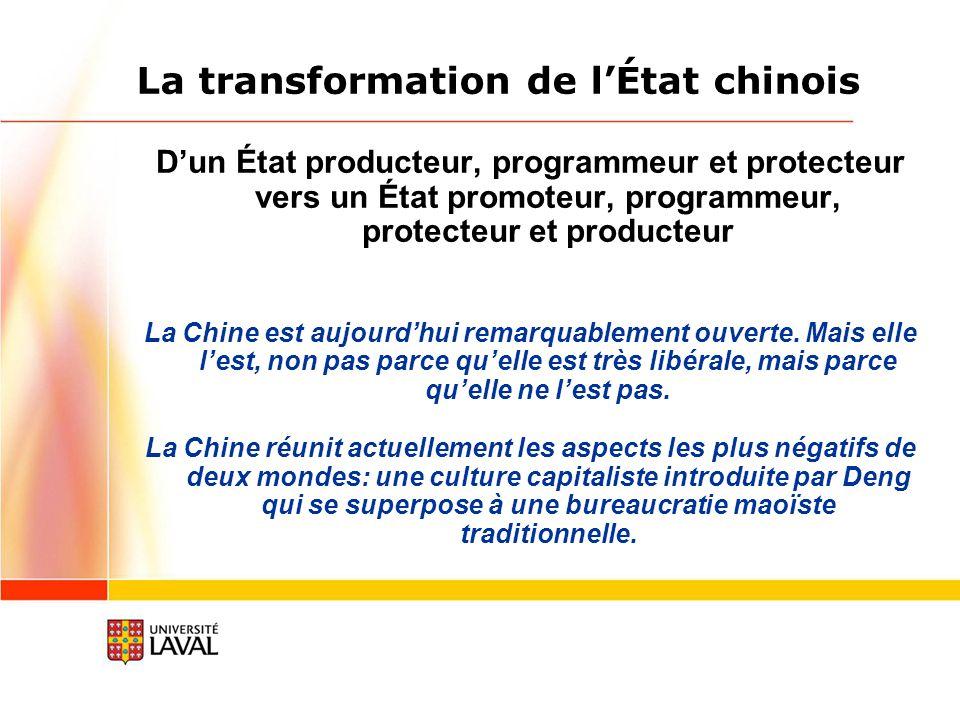 La transformation de lÉtat chinois Dun État producteur, programmeur et protecteur vers un État promoteur, programmeur, protecteur et producteur La Chine est aujourdhui remarquablement ouverte.