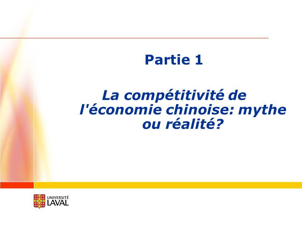 Partie 1 La compétitivité de l économie chinoise: mythe ou réalité?