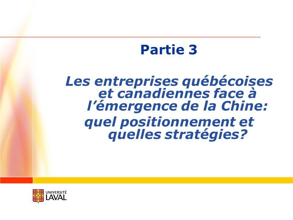 Partie 3 Les entreprises québécoises et canadiennes face à lémergence de la Chine: quel positionnement et quelles stratégies?