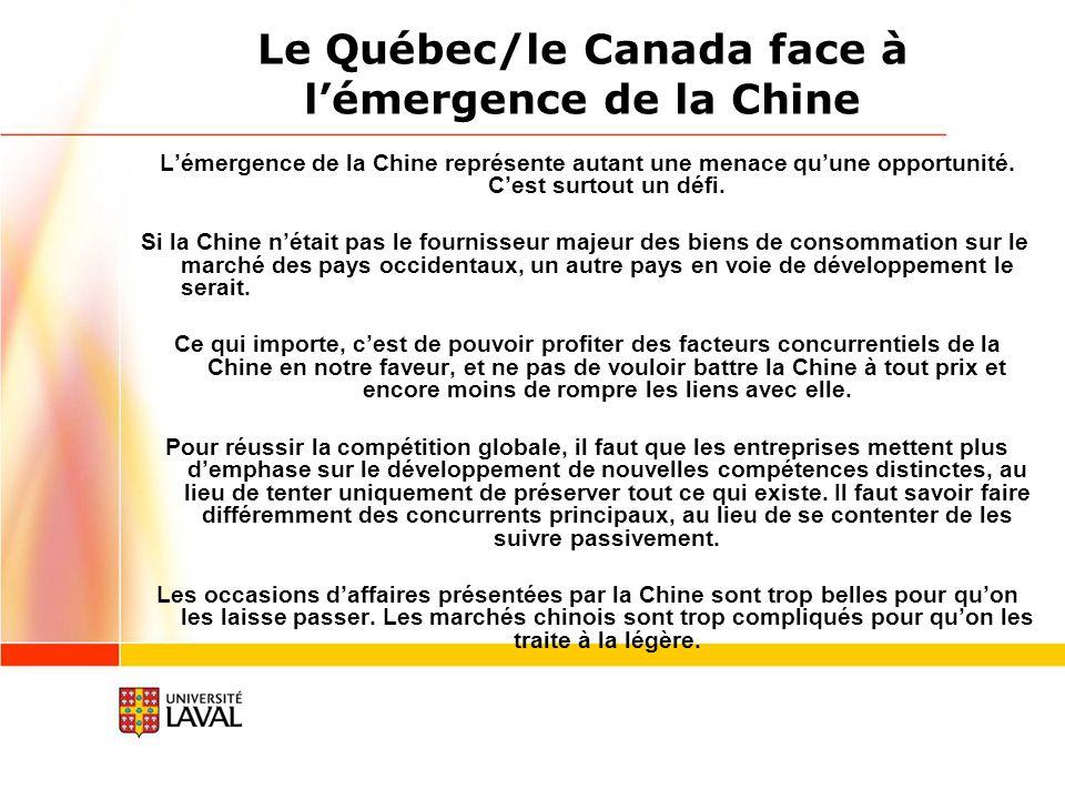 Le Québec/le Canada face à lémergence de la Chine Lémergence de la Chine représente autant une menace quune opportunité.