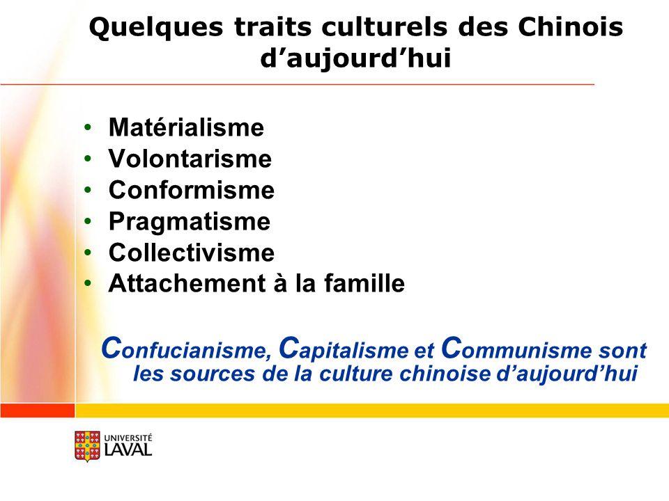 Quelques traits culturels des Chinois daujourdhui Matérialisme Volontarisme Conformisme Pragmatisme Collectivisme Attachement à la famille C onfucianisme, C apitalisme et C ommunisme sont les sources de la culture chinoise daujourdhui