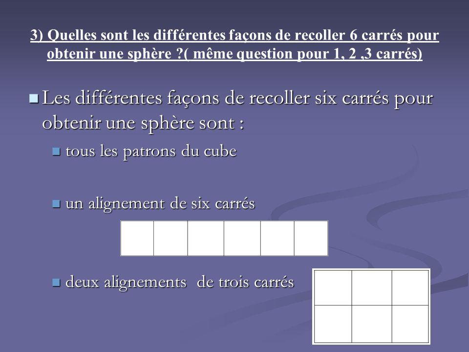 3) Quelles sont les différentes façons de recoller 6 carrés pour obtenir une sphère ?( même question pour 1, 2,3 carrés) Les différentes façons de rec