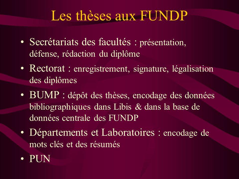 Les thèses aux FUNDP Secrétariats des facultés : présentation, défense, rédaction du diplôme Rectorat : enregistrement, signature, légalisation des di