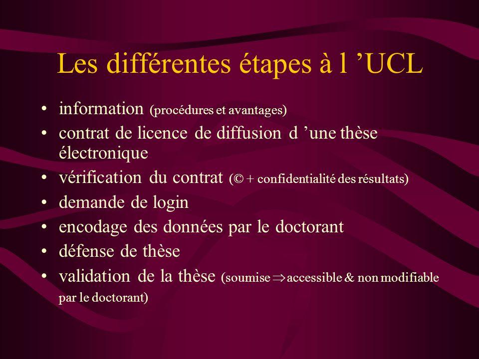 Les différentes étapes à l UCL information (procédures et avantages) contrat de licence de diffusion d une thèse électronique vérification du contrat