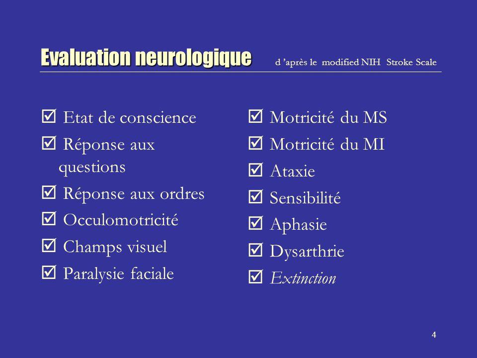 5 Interprétation des images CT Par une équipe de neuroradiologues qui nétaient pas au courant des éléments cliniques.