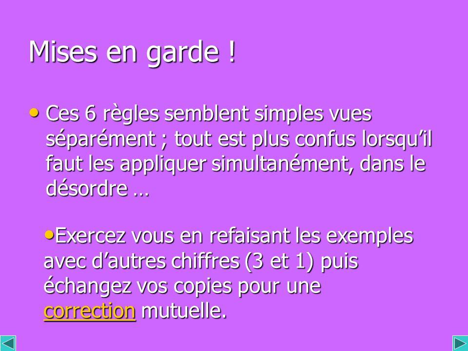 Les règles 3 & 4 concernant la multiplication et la division peuvent se résumer ainsi : + par + donne + - - par – donne aussi + Si les 2 nombres ont m