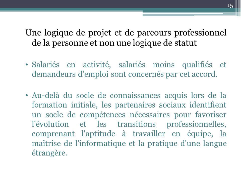 Une logique de projet et de parcours professionnel de la personne et non une logique de statut Salariés en activité, salariés moins qualifiés et deman