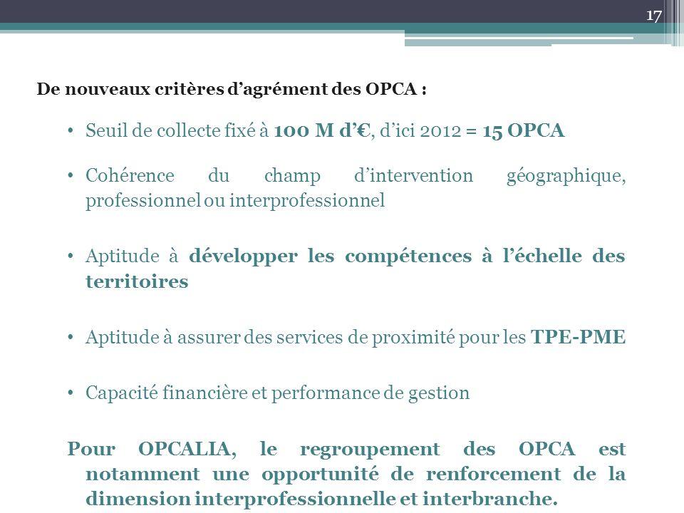 De nouveaux critères dagrément des OPCA : Seuil de collecte fixé à 100 M d, dici 2012 = 15 OPCA Cohérence du champ dintervention géographique, profess