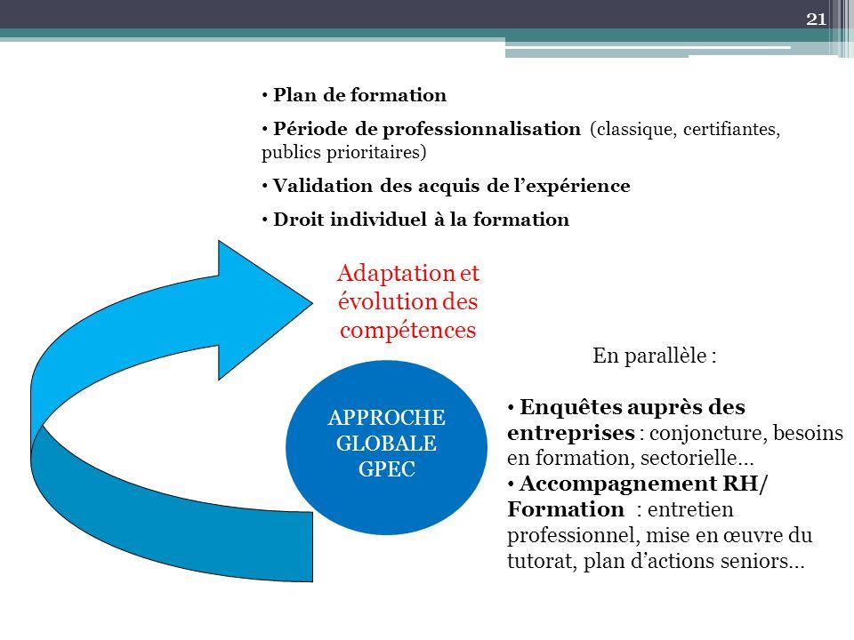 Adaptation et évolution des compétences Plan de formation Période de professionnalisation (classique, certifiantes, publics prioritaires) Validation d