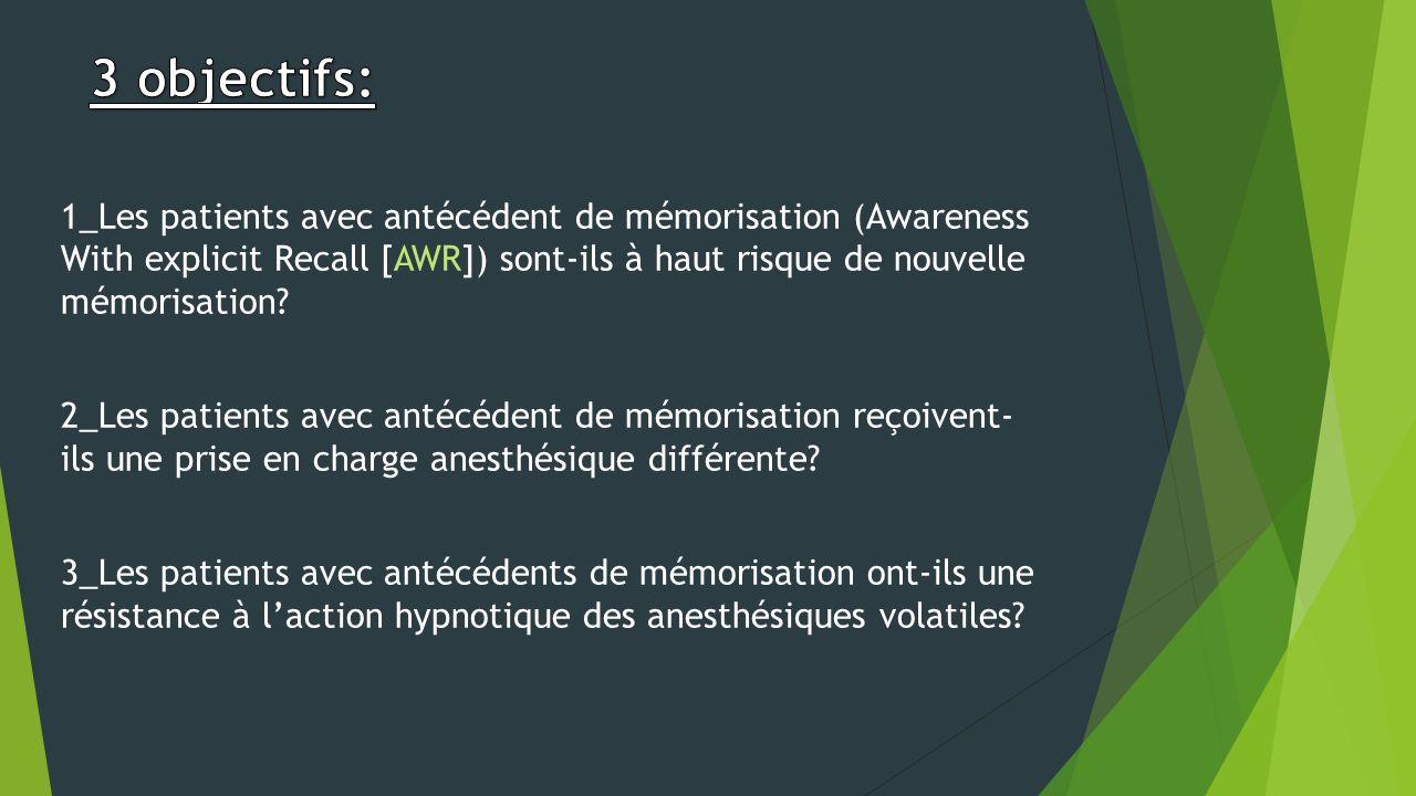 1_Les patients avec antécédent de mémorisation (Awareness With explicit Recall [AWR]) sont-ils à haut risque de nouvelle mémorisation? 2_Les patients