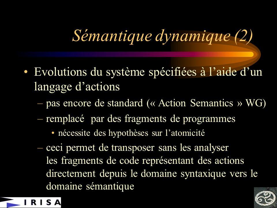 Sémantique dynamique (2) Evolutions du système spécifiées à laide dun langage dactions –pas encore de standard (« Action Semantics » WG) –remplacé par