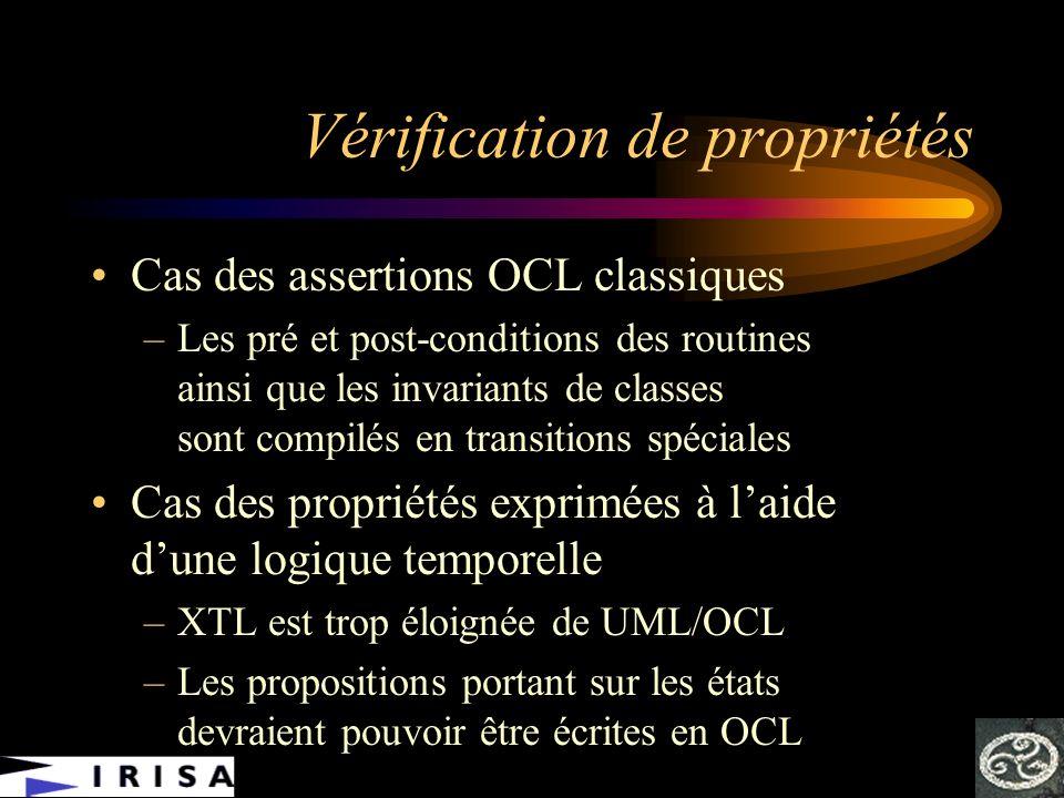 Vérification de propriétés Cas des assertions OCL classiques –Les pré et post-conditions des routines ainsi que les invariants de classes sont compilé