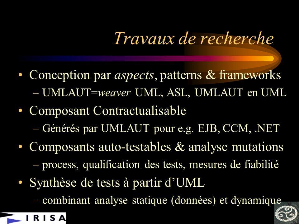 Travaux de recherche Conception par aspects, patterns & frameworks –UMLAUT=weaver UML, ASL, UMLAUT en UML Composant Contractualisable –Générés par UML