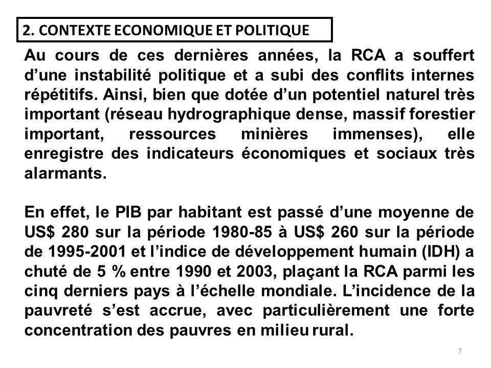 6 LA RCA EN CHIFFRES Géographie et socio-démographie : Superficie totale (km²)622 984 Population totale (2007)4 216 664 Croissance naturelle de la pop