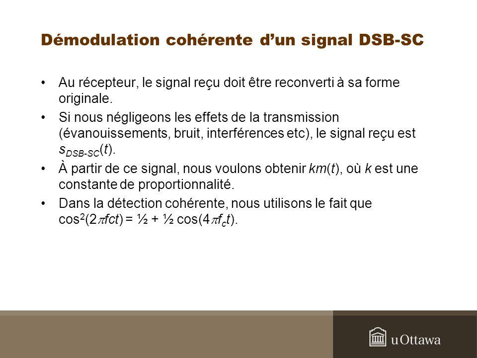 Démodulation cohérente dun signal DSB-SC Au récepteur, le signal reçu doit être reconverti à sa forme originale. Si nous négligeons les effets de la t