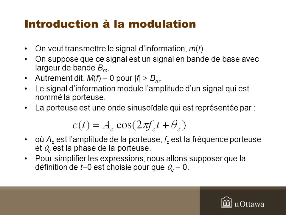 Introduction à la modulation On veut transmettre le signal dinformation, m(t).