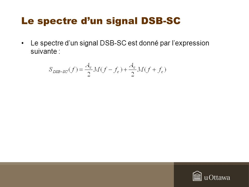 Le spectre dun signal DSB-SC Le spectre dun signal DSB-SC est donné par lexpression suivante :
