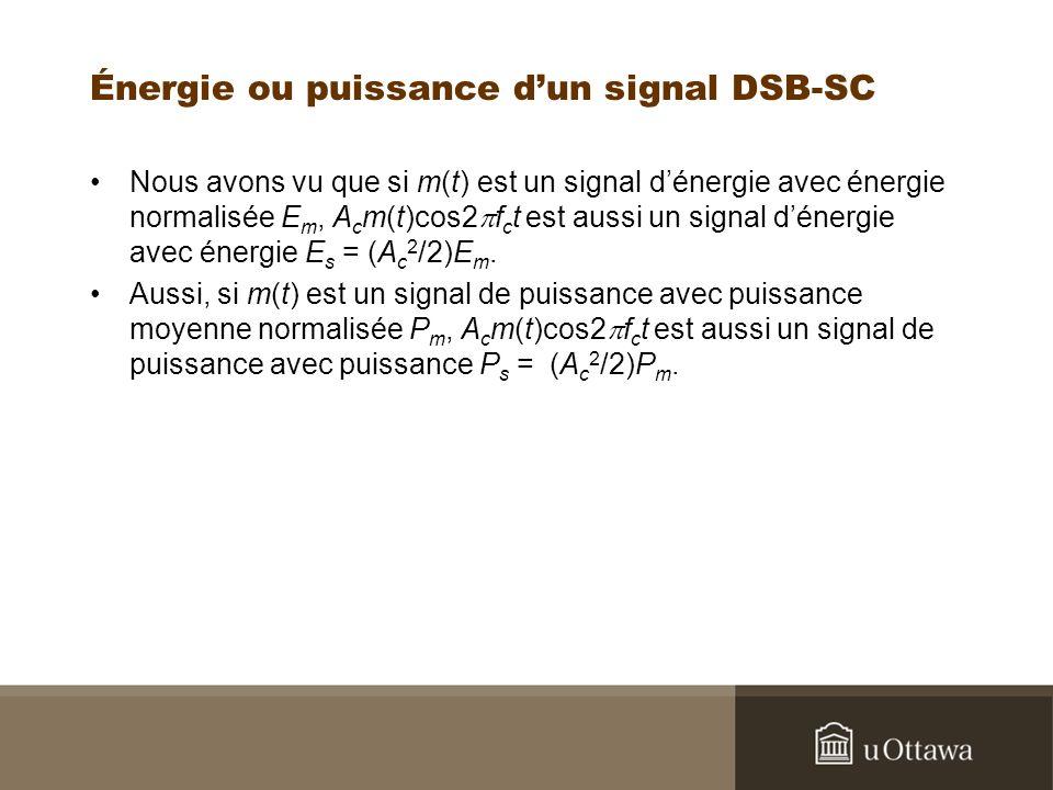 Énergie ou puissance dun signal DSB-SC Nous avons vu que si m(t) est un signal dénergie avec énergie normalisée E m, A c m(t)cos2 f c t est aussi un s