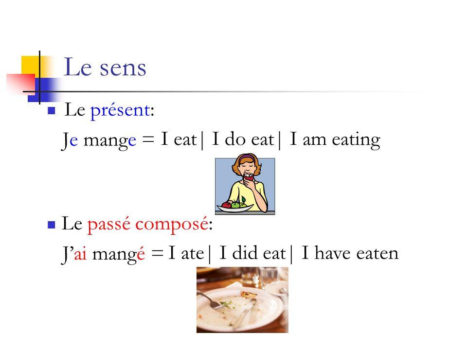 Le sens Le présent: Je mange = Le passé composé: Jai mangé = I eat| I do eat| I am eating I ate| I did eat| I have eaten