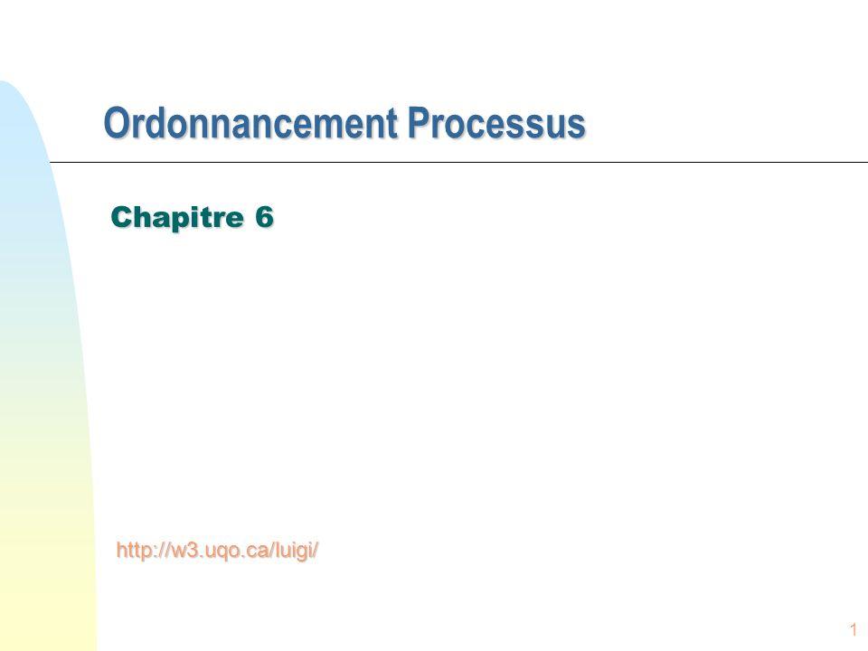 1 Ordonnancement Processus Chapitre 6 http://w3.uqo.ca/luigi/