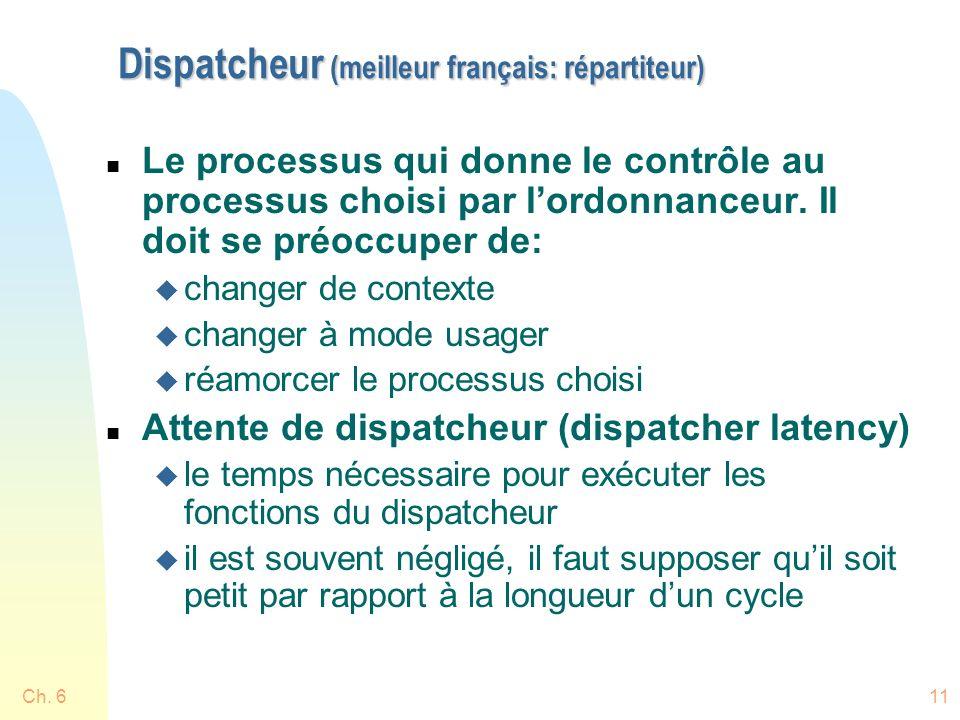 Ch. 611 Dispatcheur (meilleur français: répartiteur) n Le processus qui donne le contrôle au processus choisi par lordonnanceur. Il doit se préoccuper