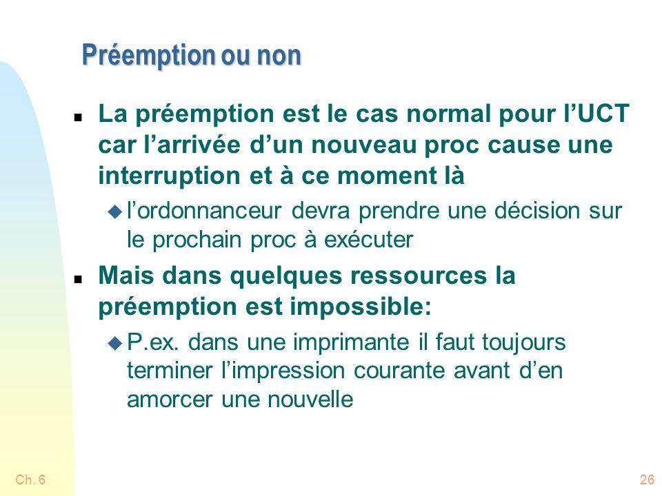 Préemption ou non n La préemption est le cas normal pour lUCT car larrivée dun nouveau proc cause une interruption et à ce moment là u lordonnanceur d