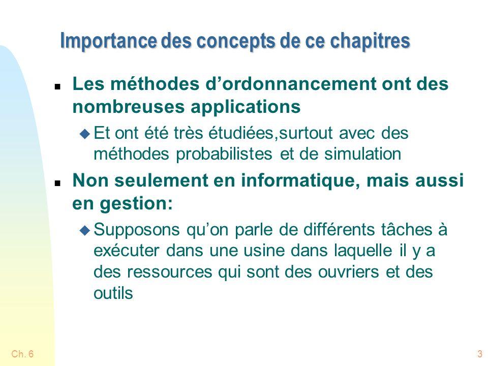 Importance des concepts de ce chapitres n Les méthodes dordonnancement ont des nombreuses applications u Et ont été très étudiées,surtout avec des mét