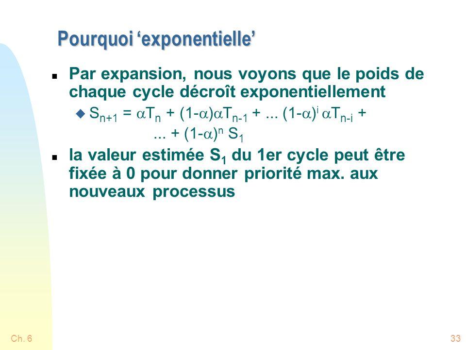 Pourquoi exponentielle n Par expansion, nous voyons que le poids de chaque cycle décroît exponentiellement S n+1 = T n + (1- ) T n-1 +... (1- ) i T n-