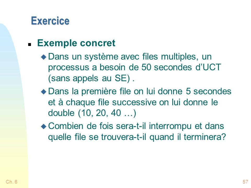 Exercice n Exemple concret u Dans un système avec files multiples, un processus a besoin de 50 secondes dUCT (sans appels au SE). u Dans la première f