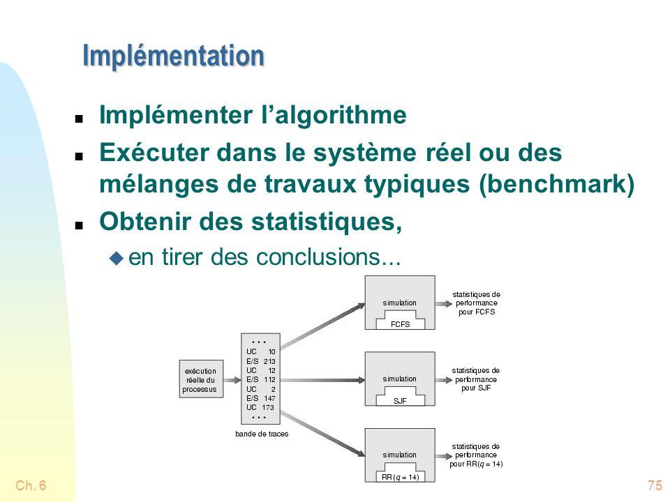 Ch. 675 Implémentation n Implémenter lalgorithme n Exécuter dans le système réel ou des mélanges de travaux typiques (benchmark) n Obtenir des statist