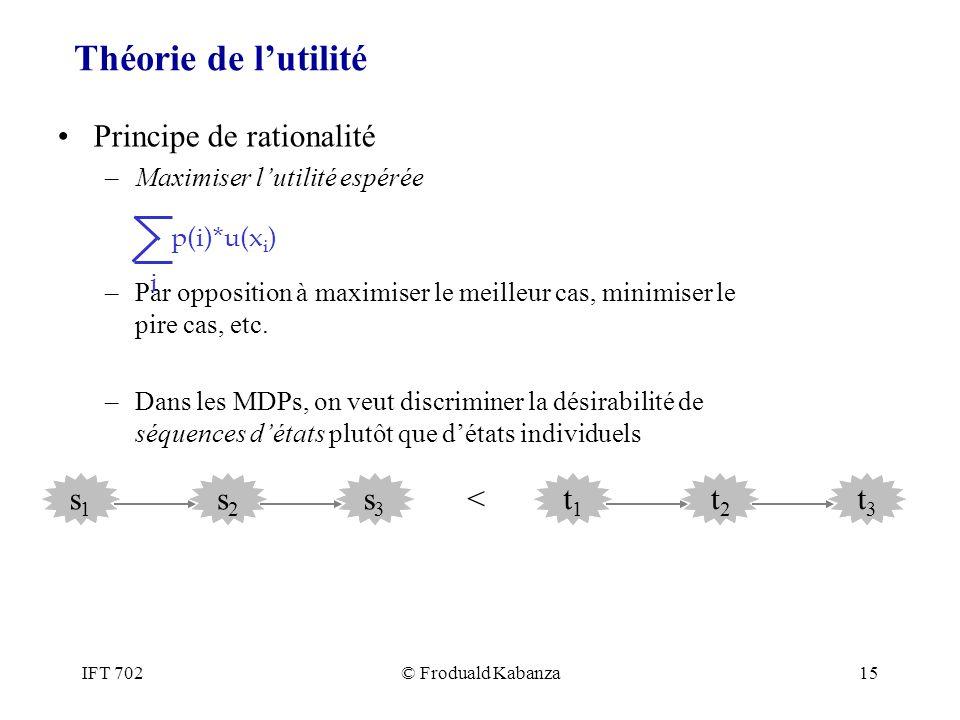 IFT 702© Froduald Kabanza15 Théorie de lutilité Principe de rationalité –Maximiser lutilité espérée –Par opposition à maximiser le meilleur cas, minim
