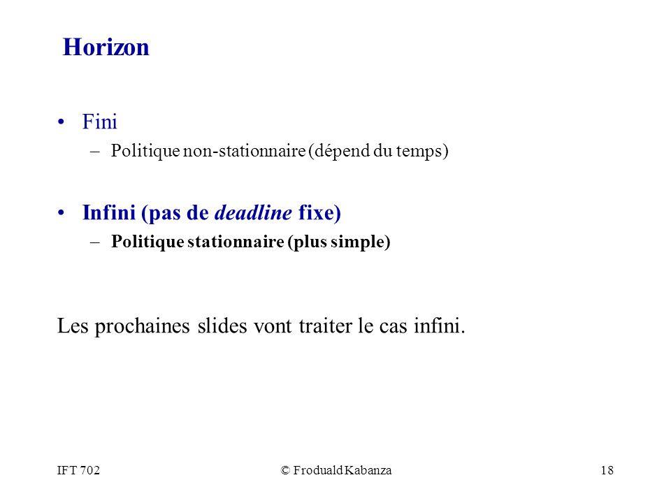 IFT 702© Froduald Kabanza18 Horizon Fini –Politique non-stationnaire (dépend du temps) Infini (pas de deadline fixe) –Politique stationnaire (plus sim