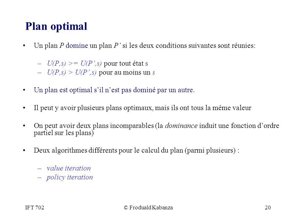IFT 702© Froduald Kabanza20 Plan optimal Un plan P domine un plan P si les deux conditions suivantes sont réunies: –U(P,s) >= U(P,s) pour tout état s