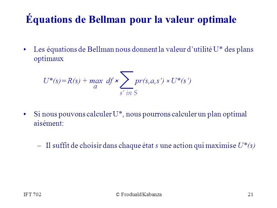 IFT 702© Froduald Kabanza21 Équations de Bellman pour la valeur optimale Les équations de Bellman nous donnent la valeur dutilité U* des plans optimau