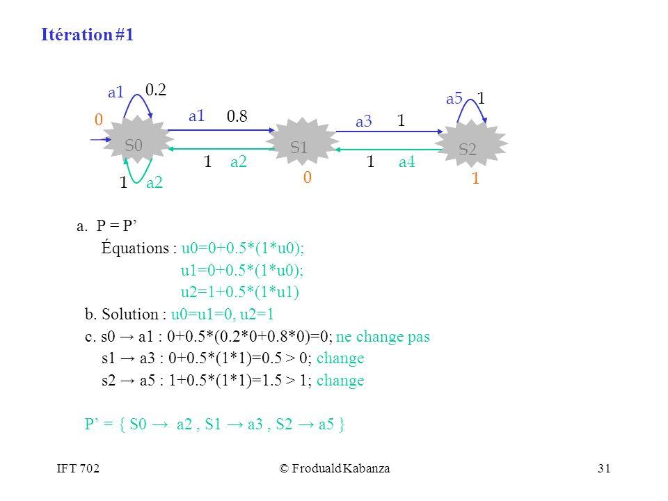 IFT 702© Froduald Kabanza31 a. P = P Équations : u0=0+0.5*(1*u0); u1=0+0.5*(1*u0); u2=1+0.5*(1*u1) b. Solution : u0=u1=0, u2=1 c. s0 a1 : 0+0.5*(0.2*0