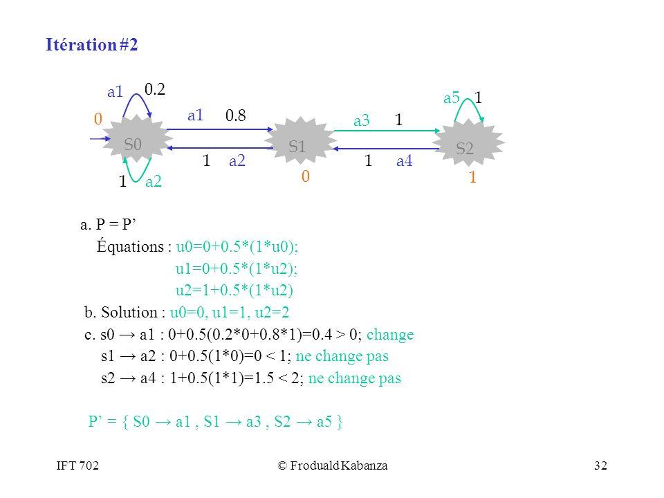 IFT 702© Froduald Kabanza32 a. P = P Équations : u0=0+0.5*(1*u0); u1=0+0.5*(1*u2); u2=1+0.5*(1*u2) b. Solution : u0=0, u1=1, u2=2 c. s0 a1 : 0+0.5(0.2