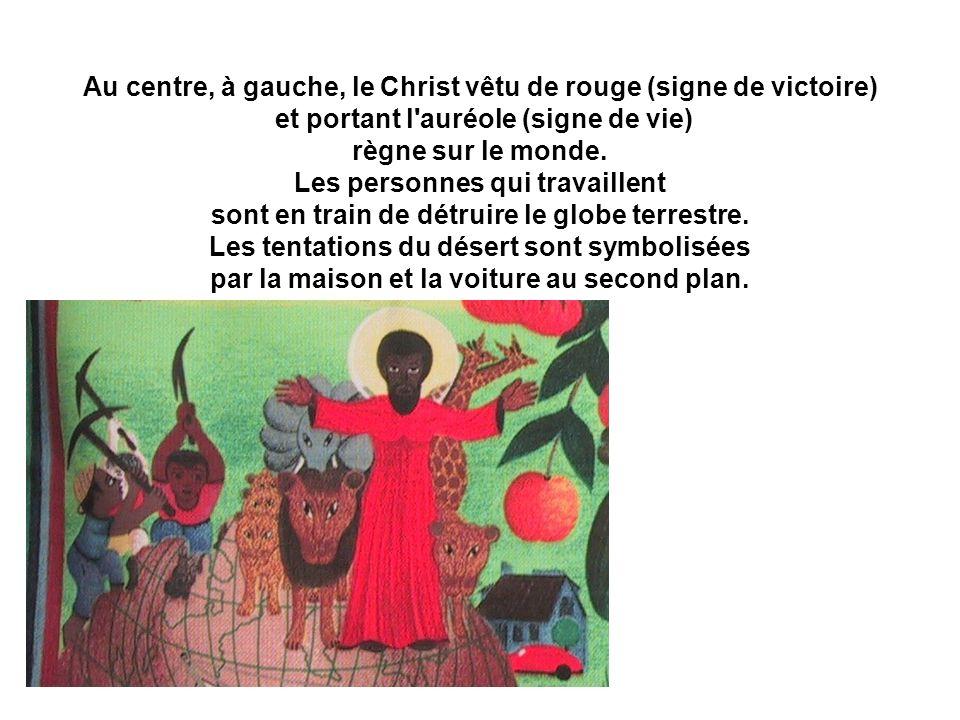 Au centre, à gauche, le Christ vêtu de rouge (signe de victoire) et portant l'auréole (signe de vie) règne sur le monde. Les personnes qui travaillent