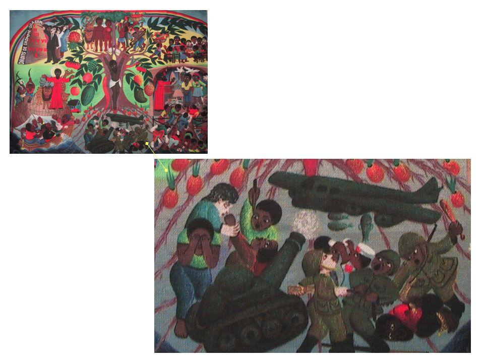 En bas, au centre, entre les racines de l arbre, des scènes de violence et de guerre.