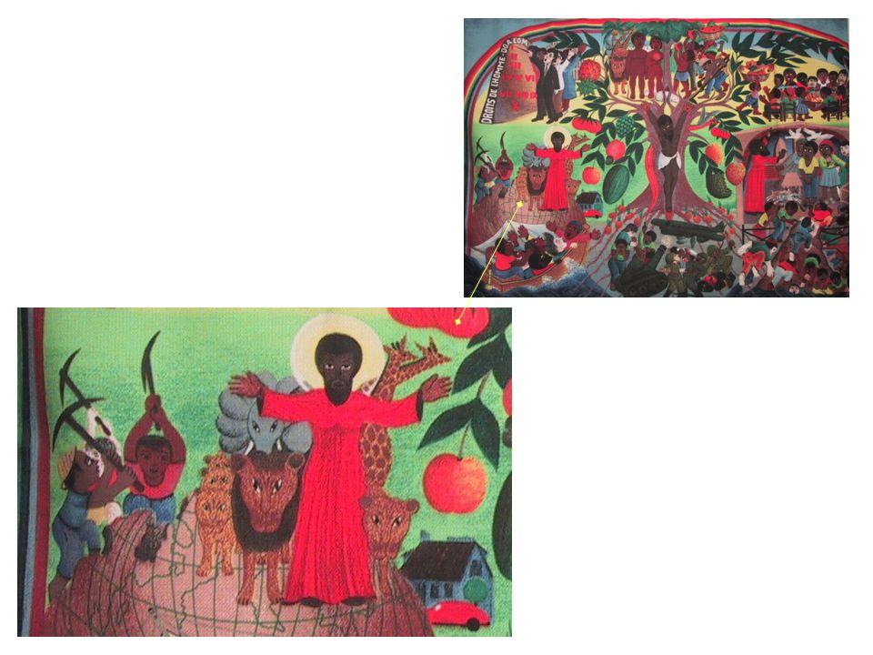 Au centre, à gauche, le Christ vêtu de rouge (signe de victoire) et portant l auréole (signe de vie) règne sur le monde.