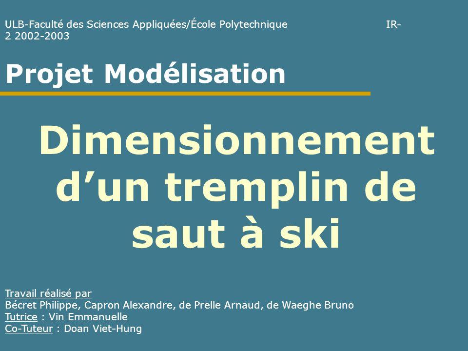 Le saut sans forces de frottement (3) Trajectoire du skieur dans lair 3ème loi de Newton Appliquée à notre cas Avec les C.I.